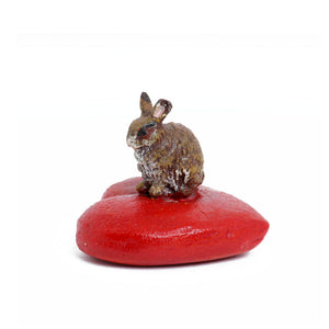 Rabbit On Heart-Cushion Vienna Bronze Figurine