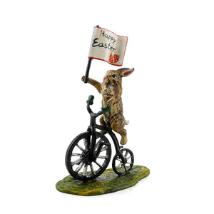 Rabbit on Cycle with Happy Easter Flag Vienna Bronze Figurine