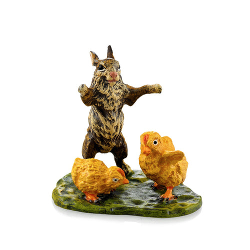 Rabbit With Chicks On Meadow Vienna Bronze Figurine