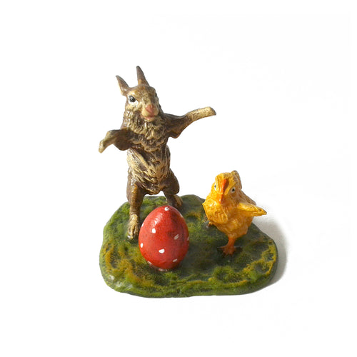 Bunny with Chick & Easter Egg on Meadow Vienna Bronze Figurine