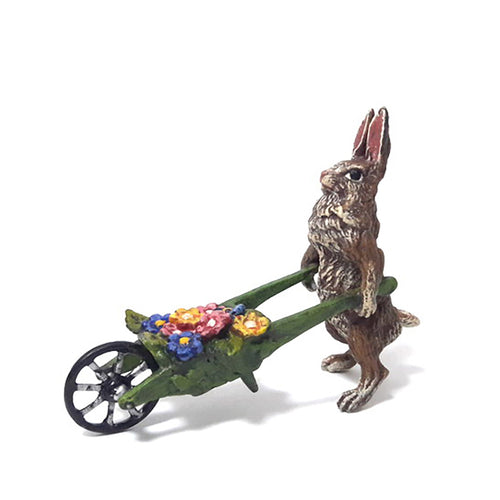 Rabbit With Wheelbarrow / Flowers Vienna Bronze Figurine