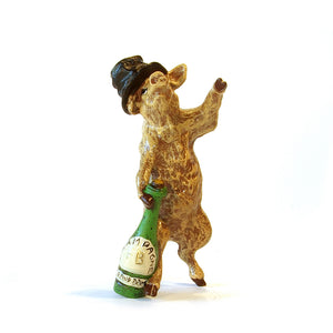 Pig Drunken With Top Hat &. Bottle Vienna Bronze Figurine
