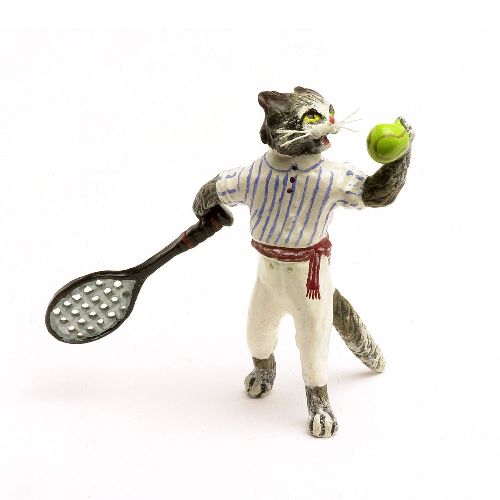 Cat Tennis Player Vienna Bronze Figurine