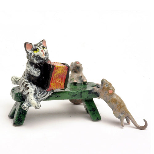 Cat Accordion, Bench / Mouse Vienna Bronze Figurine