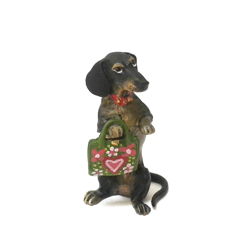 Dachshund With Handbag Vienna Bronze Figurine
