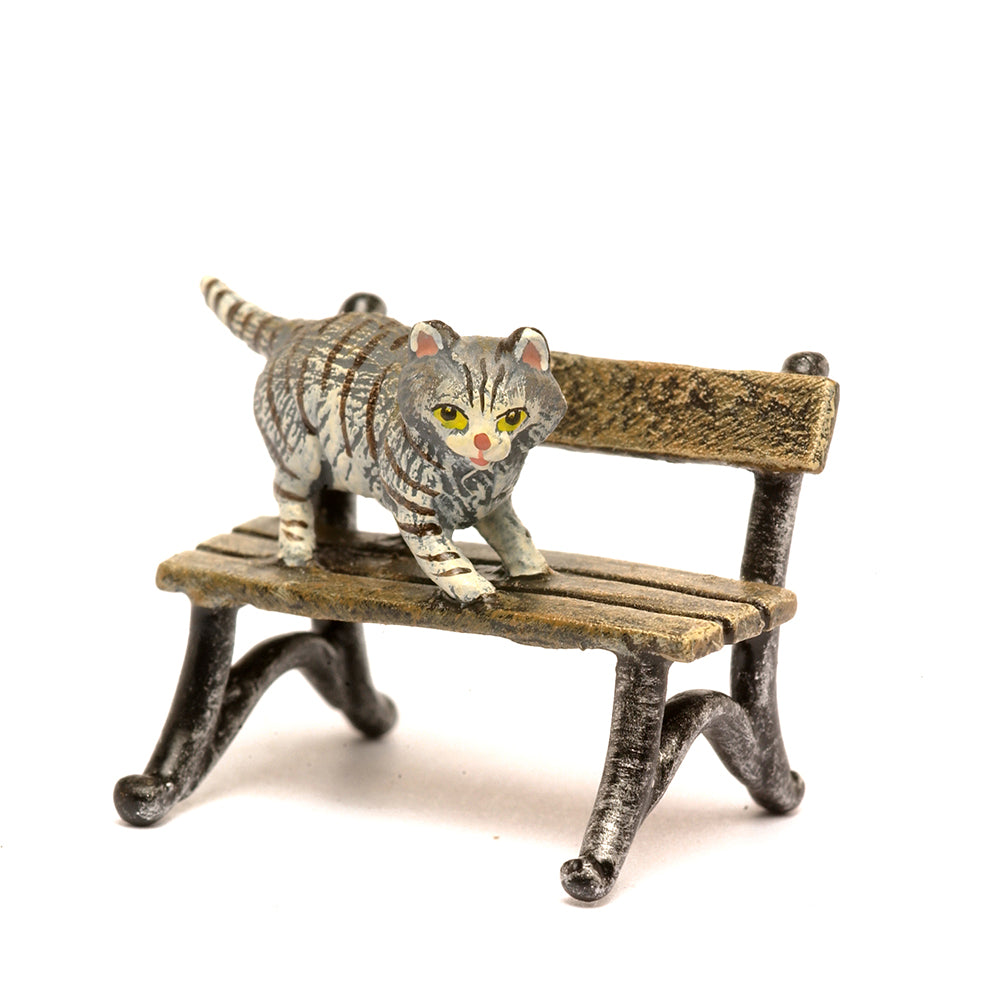 Cat On Bench Vienna Bronze Figurine