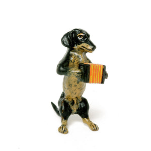 Dachshund Accordion Vienna Bronze Figurine