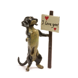 Dachshund I Love You Vienna Bronze Figurine