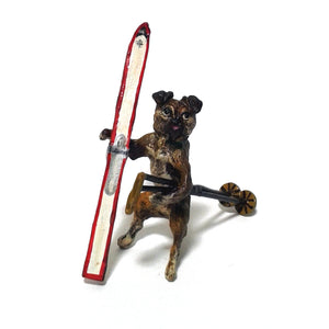Pug With Ski Vienna Bronze Figurine