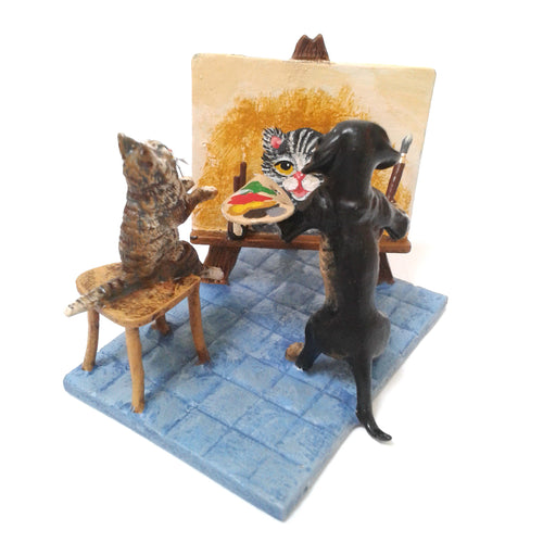 Dachshund Paints Cat Vienna Bronze Figurine