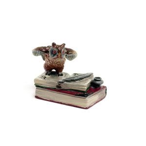 Owl On Book With Ink-Pot Vienna Bronze Figurine