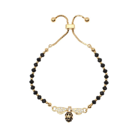 Halcyon Days Bee Sparkle Black & Gold Beaded Friendship Bracelet