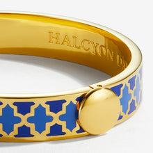 "Load image into Gallery viewer, Halcyon Days ""Agama Deep Cobalt, Bluebell & Gold"" Bangle"