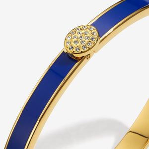 "Halcyon Days ""Skinny Pave Button Deep Cobalt & Gold"" Bangle"