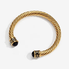 "Load image into Gallery viewer, Halcyon Days ""Maya Torque Black & Gold"" Bangle"