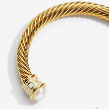 "Load image into Gallery viewer, Halcyon Days ""Maya Torque Ivory & Gold"" Bangle"