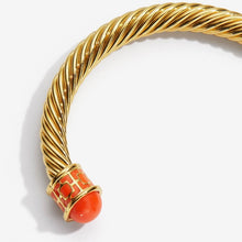 "Load image into Gallery viewer, Halcyon Days ""Maya Torque Orange & Gold"" Bangle"