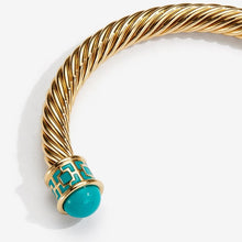 "Load image into Gallery viewer, Halcyon Days ""Maya Torque Turquoise & Gold"" Bangle"