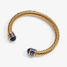 "Load image into Gallery viewer, Halcyon Days ""Maya Torque Deep Cobalt & Gold"" Bangle"