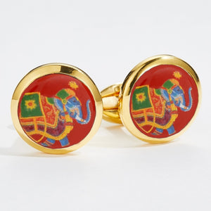 Halcyon Days Ceremonial Indian Elephant Red & Gold Cufflinks