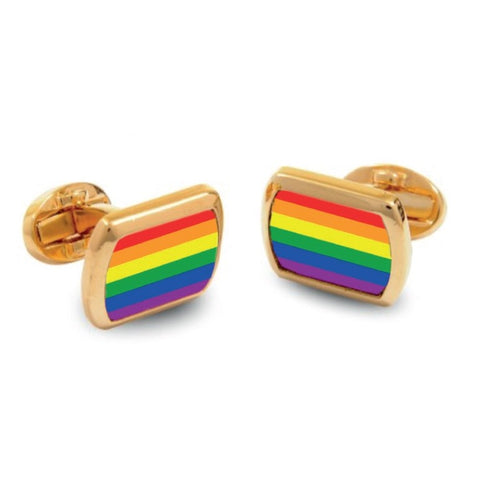 Halcyon Days Rainbow Rectangular Gold Cufflinks