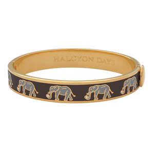"Halcyon Days ""Elephant Motif Black & Gold"" Bangle"