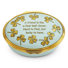 "Load image into Gallery viewer, Halcyon Days ""Four Leaf Clover"" Enamel Box"