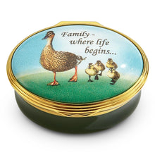 "Load image into Gallery viewer, Halcyon Days ""Family... where life begins"" Enamel Box"