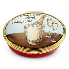 "Load image into Gallery viewer, Halcyon Days ""Save Water, Drink Champagne"" Enamel Box"
