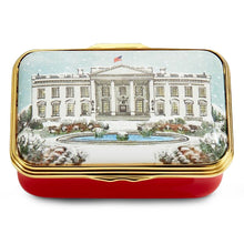 "Load image into Gallery viewer, Halcyon Days ""The White House in the Snow"" Enamel Box"