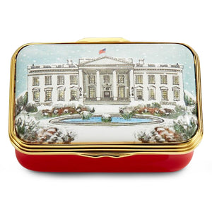 "Halcyon Days ""The White House in the Snow"" Enamel Box"