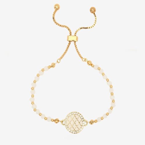 Halcyon Days Agama Sparkle Cream & Gold Beaded Friendship Bracelet