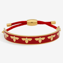 "Load image into Gallery viewer, Halcyon Days ""Bee Sparkle Red & Gold Friendship"" Bangle"