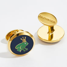 Load image into Gallery viewer, Halcyon Days Frog Prince Round Gold Cufflinks