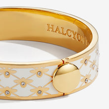 "Load image into Gallery viewer, Halcyon Days ""Bee Sparkle Trellis Cream & Gold"" Bangle"