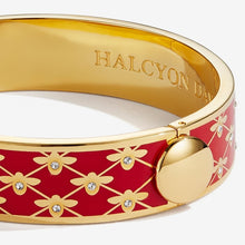 "Load image into Gallery viewer, Halcyon Days ""Bee Sparkle Trellis Red & Gold"" Bangle"
