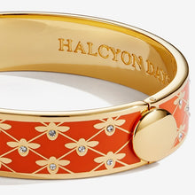 "Load image into Gallery viewer, Halcyon Days ""Bee Sparkle Trellis Orange & Gold"" Bangle"