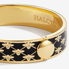 "Load image into Gallery viewer, Halcyon Days ""Bee Sparkle Trellis Black & Gold"" Bangle"