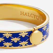 "Load image into Gallery viewer, Halcyon Days ""Bee Sparkle Trellis Deep Cobalt & Gold"" Bangle"