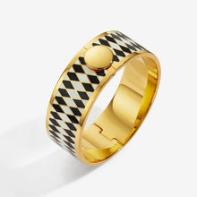 "Load image into Gallery viewer, Halcyon Days ""Parterre Black Cream & Gold"" Bangle"