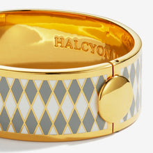 "Load image into Gallery viewer, Halcyon Days ""Parterre Grey Cream & Gold"" Bangle"