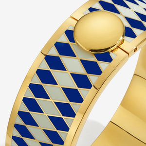 "Halcyon Days ""Parterre Deep Cobalt Cream & Gold"" Bangle"