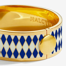"Load image into Gallery viewer, Halcyon Days ""Parterre Deep Cobalt Cream & Gold"" Bangle"
