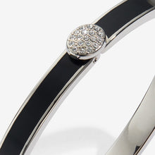 "Load image into Gallery viewer, Halcyon Days ""Skinny Pave Button Black & Palladium"" Bangle"