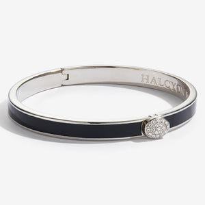 "Halcyon Days ""Skinny Pave Button Black & Palladium"" Bangle"