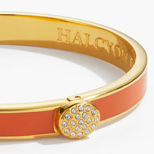 "Load image into Gallery viewer, Halcyon Days ""Skinny Pave Button Orange & Gold"" Bangle"