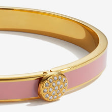 "Load image into Gallery viewer, Halcyon Days ""Skinny Pave Button Pink & Gold"" Bangle"