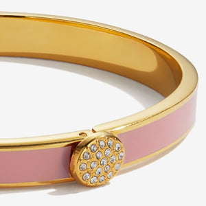 "Halcyon Days ""Skinny Pave Button Pink & Gold"" Bangle"
