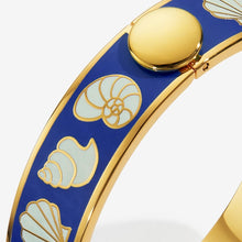 "Load image into Gallery viewer, Halcyon Days ""Shells Deep Cobalt Cream & Gold"" Bangle"