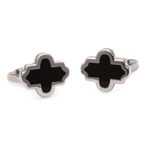 Halcyon Days Single Agama Black & Palladium Cufflinks